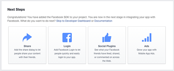 Facebook New App Next Steps
